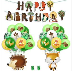 Animal Happy Birthday Paper Banner balloons Bunting Party Decoration DIY Bunting