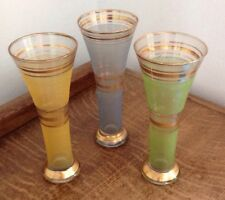 Set Of Three Vintage Tall Fluted Vases Chance Style Frosted