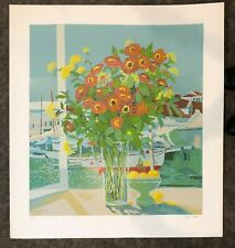 Russ Elliott - Red Zinnias Signed and Numbered L/ED Serigraph FREE SHIPPING