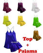 Satin Night Wear Top + Pajama Set Girls Sexy Cami & Shorts Set Plus Size S98