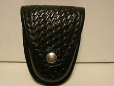 Vintage Gould and Goodrich Black Leather Basketweave Handcuff Case, Model B71W