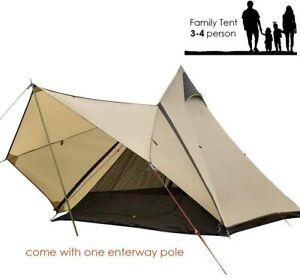 Camping Outdoor TeepeeTent Indoor Double Door Waterproof Family Porch 3-4 Person