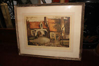 Antique Lithograph Print European Cottage Village Person Walking Signed