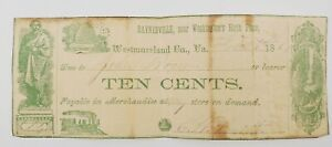 1858 Fractional Currency - Baynesville, VA, Westmoreland Co. J.L. Smith 10¢ Note
