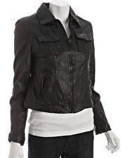 EUC Levis Red Tab Black Leather Trucker Jean Jacket Coat Extra Small XS