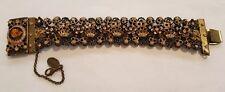 Michal Negrin Wide Bracelet Victorian Black Rose Gold Flower Swarovski Crystals
