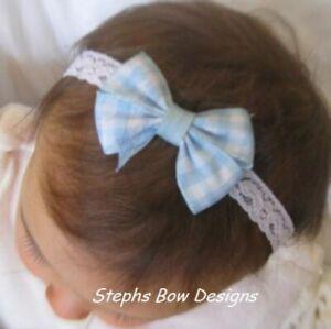 Blue White Gingham Dainty Hair Bow Headband Cute 4 Dororthy Wizard of OZ Easter