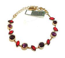 Pilgrim 16k Gold Bracelet Chain Swarovski Crystals Enamel Adjustable Vintage