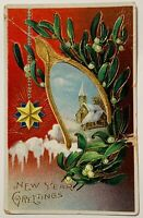 Antique New Year Greetings Christmas Postcard Wishbone Winter Snow Scene Gold