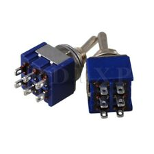 2 x 3-Way Design AC 125V 6A Double Pole DPDT On/OFF/On 3P Toggle Switch Blue
