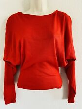 """New listing 70'S Vtg """"Dance Centre"""" Red L/S Dolman Sleeve Fitted Waist Top Dancing Womens S"""