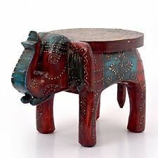 Rajasthani Designer Handcrafted Ethnic Durable Wooden Elephant Stool Side Table