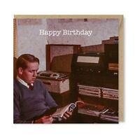 Unique Vintage Retro Birthday Card, Music Man, Vinyl Record Player Nostalgia