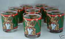 VINTAGE GLASSWARE BARWARE PARTY 8 BRANDY ROCK GLASS CHRISTMAS TEDDY DEER SIGNED