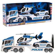 Teamsterz Light And Sound Police Emergency Transporter Truck, Car And Helicopter