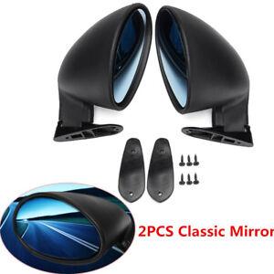 2X Universal Vintage Car Door Side View Wing Mirror Matte Black w/ Gaskets Handy