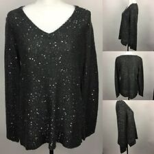 Apt 9 Grey Gray Knitted VNeck Pullover Sweater w Silver Sequins Womens Large