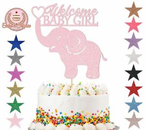 Welcome Baby Girl Elephant Glitter Cake Topper Decorations, Baby Shower Card