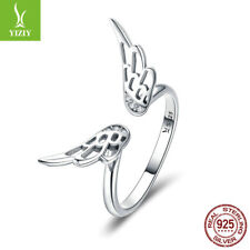 Fairy Wing Authentic 925 Sterling Silver Zirconia Open Finger Ring Women Jewelry