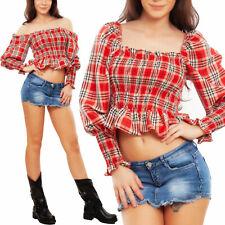 Top donna scozzese corto crop maglia spalle nude elasticizzato TOOCOOL GL-10082