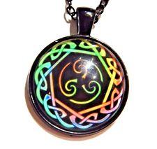 RAINBOW CELTIC KNOT PENDANT Triskelion Norse Triskele necklace LGBT pride W3