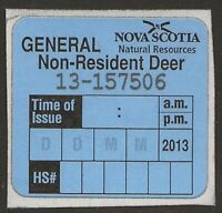Canada 2013 NOVA SCOTIA General Non-Resident DEER Hunting Revenue VF
