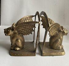 Vintage Brass Winged Gargoyle Mythical Fantasy Demons Bookends