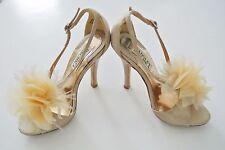 Beige BADGLEY MISCHKA w/ Flower Embellishment Sandals, 4-in Heels, Sz 4M