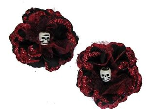 Hairy Scary Black w Red Glitter Rosie the Reaper Skull Hair Clip Set