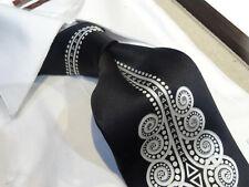 Verse 9 Silk Tie Necktie solid Black Swirl Art Deco Jacquard