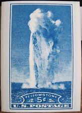 """YELLOWSTONE PARK Old Faithful Postage Stamp Blank Greeting Note Card w Env 5""""x7"""""""