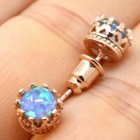 Vintage Antique Blue Opal Earring Women Wedding Jewelry 14K Rose Gold Plated
