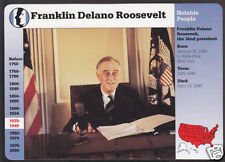 PRESIDENT FRANKLIN DELANO ROOSEVELT FDR Photo Bio GROLIER STORY OF AMERICA CARD