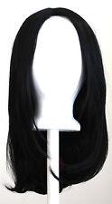 17'' Long Straight No Bangs Natural Black Cosplay Wig NEW