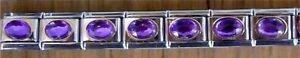 9mm Italian Charm Large Oval Purple Stone Fits Classic Size Bracelet