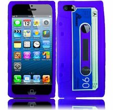 Apple iPhone 5 5S SE Rubber SILICONE Soft Gel Skin Case Cover Purple Cassette