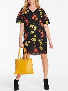 New Capsule Black Floral Print Ruffle Sleeve Dress in Sizes 16 20 22 26