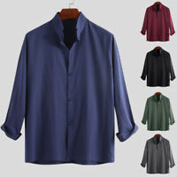 Vintage Chinese Men's Casual Long Sleeve Cotton Loose Retro Tops T Shirts Blouse