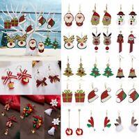 Christmas Tree Snowman Elk Bell Earrings Hook Ear Dangle Felt Cloth Gifts Party