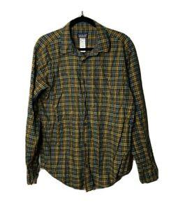 Patagonia Men's Size Medium Plaid Button Front Shirt Organic Cotton Yellow Blue