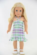 Sundress Green Purple Plaid American Made Doll Clothes For 18 inch Girls Dolls