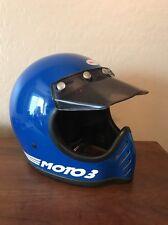 Vintage Bell Moto III 3 Motorcycle Helmet 6 7/8 Blue Star 1980 Original Visor 55