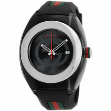 New Gucci YA137101 Sync XXL Black Rubber Black Dial Watch