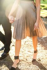 Lucy Paris Leila Black Dots Thin Pleated Tulle Midi Skirt in Beige Brown LP-4070