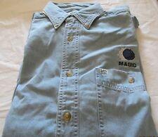 Orlando Magic Long Sleeve Medium Denim Shirt  Chest Embroidery Logo NBA Cotton