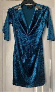 New RIVER ISLAND Velveteen Sequinned Dress Size UK 8
