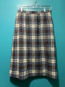 VTG 80s Pendleton Wool Straight Pencil Skirt Plaid White Grey Red Sz 10 Lined
