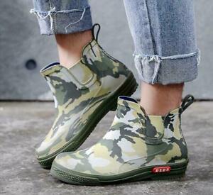 Men Camouflage Rain Boots Waterproof Non-slip Water Garden Shoes Ankle Boots sz