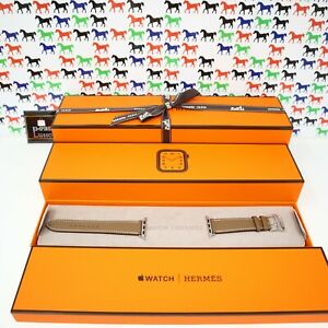 BRAND NEW HERMES APPLE SERIES 5 WATCH 40 MM ETOUPE BAND CLASSIC SINGLE TOUR GRAY