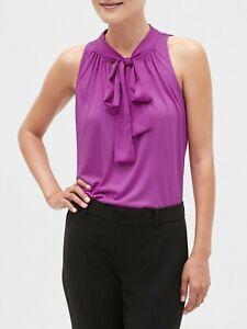 BANANA REPUBLIC Pleated Tie-Neck Sleeveless Tops #51841-2